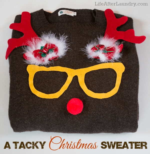 Ugly Christmas Sweater DIYs | reindeer with glasses