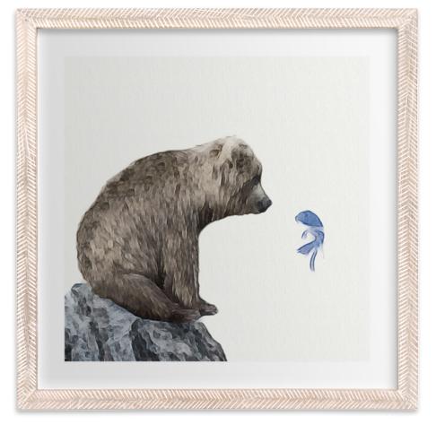 Whimsical Wall Art| Maja Cunningham blue fish wish print