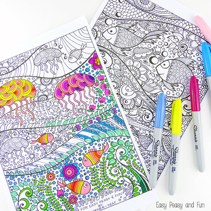 free adult coloring pages | under the sea