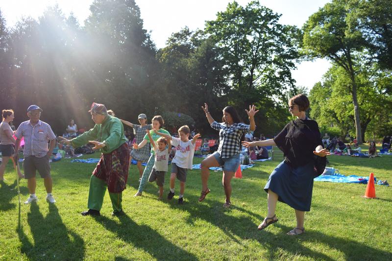 learning martial arts moves at Dancing at Dusk at Caramoor