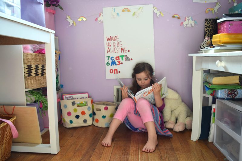 super simple kids reading nook with baby cubby