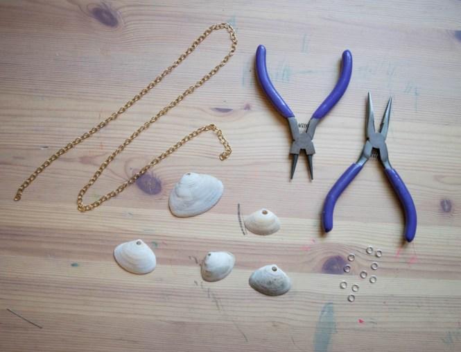 Wrangle Your Kids' Seashell Collection- DIY seashell necklace supplies