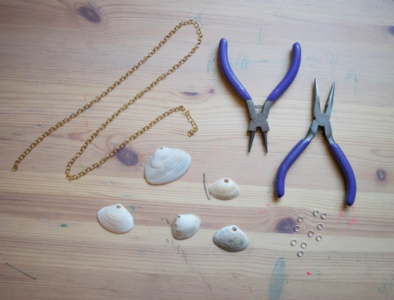 Wrangle Your Kids' Seashell Collection- DIY seashell necklace supplies