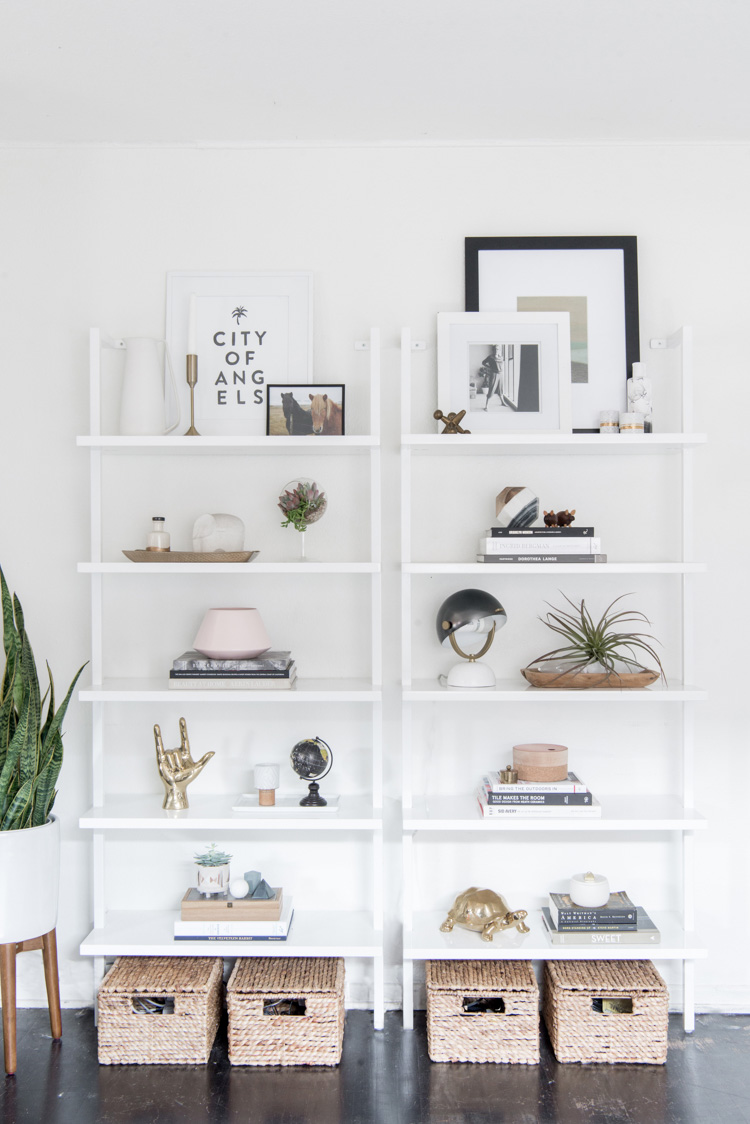 shelf styling tips - leave space to give the eye a rest