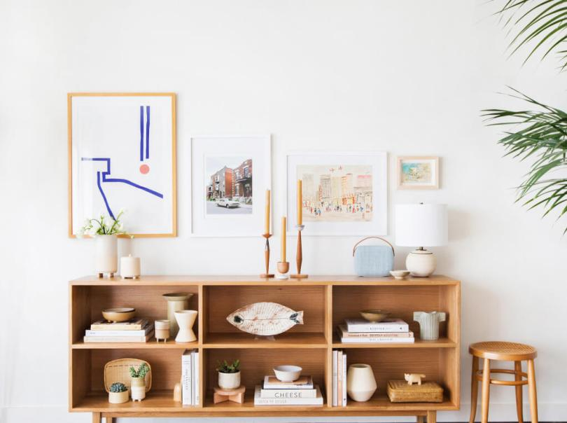 shelf styling tips - work with triangles
