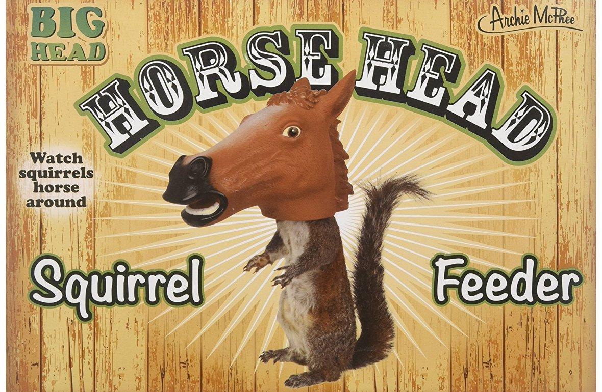 7 Hilarious White Elephant Gift Ideas - Horse Head Squirrel Feeder