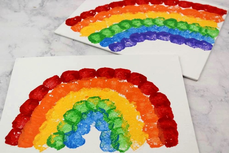 Rainbow Crafts for Kids - Cotton Ball Rainbow Painting