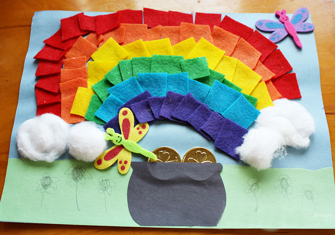 Rainbow Crafts for Kids - Felt Rainbow with a Pot of Gold