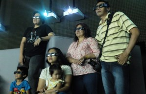 Watching a 3D movie on Earth
