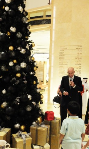 Mr. Guy Bertaud, General Manager of The H Dubai asked the children's help to light up the tree.