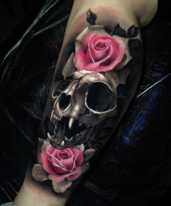 Rose And Skull Tattoo : skull, tattoo, Awesome, Skull, Tattoo, Designs, Cuded