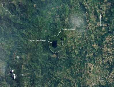 Satellite image shows the San Diego volcano in Colombia that is not visible on the ground.