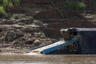 River gold mining operation in southern Ecuador.