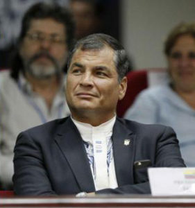 An angry Rafael Correa listens to U.S. President Barack Obama at the Summit of the Americas.