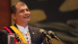 Correa delivering his report to the nation on Sunday in Quito.