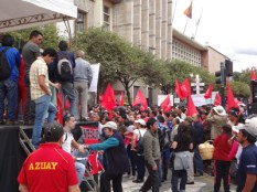 Those opposed to government policies gathered in Parque Calderon.
