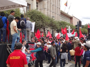 May Day marchers opposed to government policies in Cuenca's Parque. Calderon.