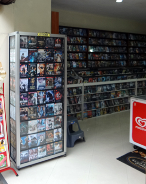 A video store in Cuenca's historic district.