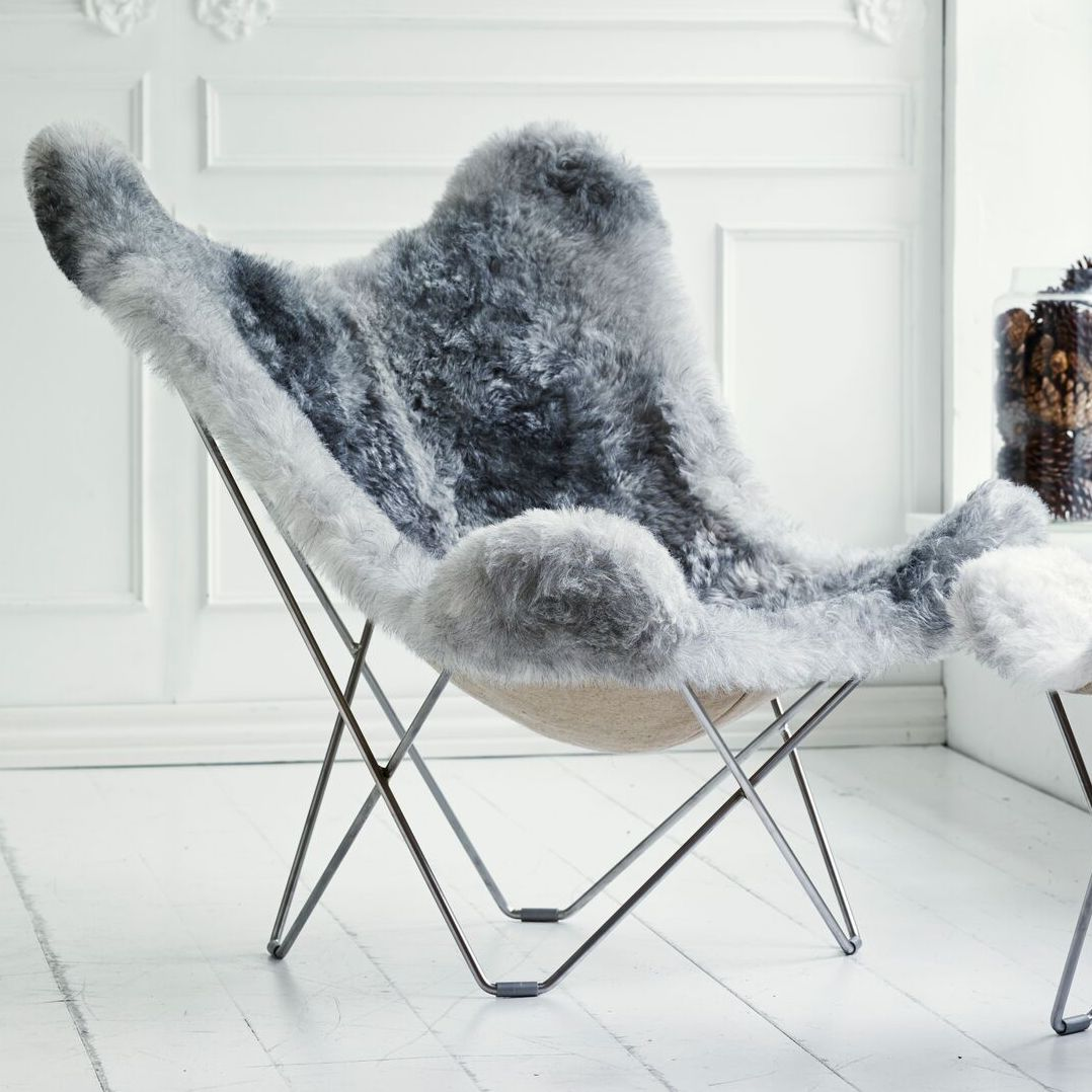 Fur Butterfly Chair Sheepskin Butterfly Chair Iceland Mariposa Natural Grey