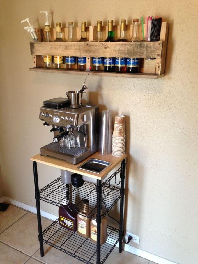 Pallet Shelf Coffee Bar