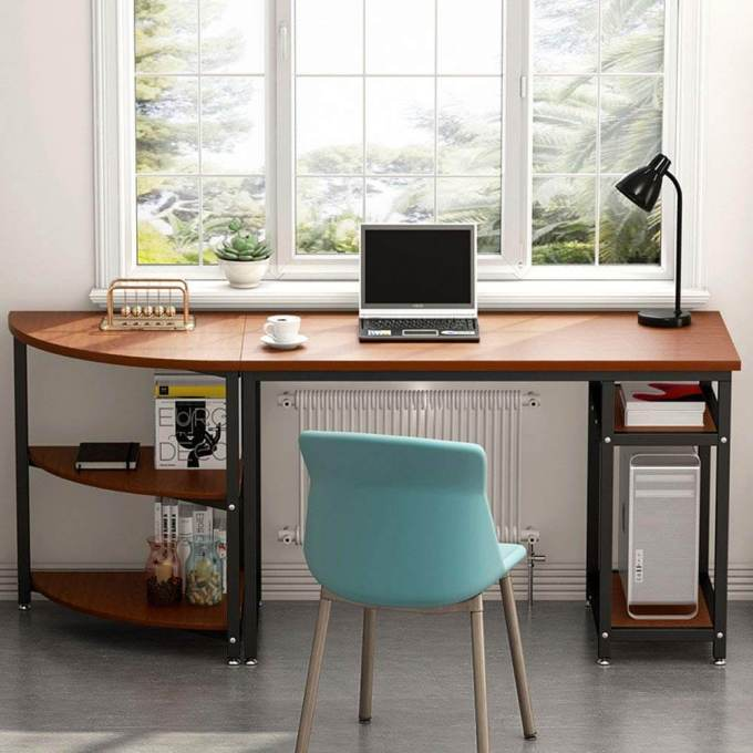 """Computer Desk with Storage Shelves, LITTLE TREE 47"""" Gaming Desk & 23"""" Arch Corner Shelf, Writing Office Desk Workstation Table for Home Office, Free-Combination 2 Piece"""