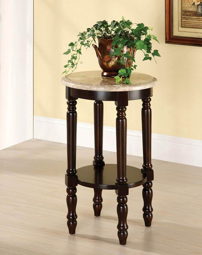 Marble Round Plant Stand with Cherry Wood Finish