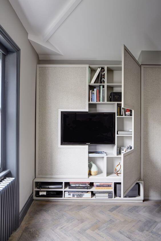 tv wall With Hidden Shelves