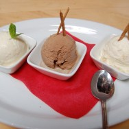 Tequila, Mexican Hot Chocolate and Chongos Zamoranos Ice Cream samples (from left to right) at Loteria Grill