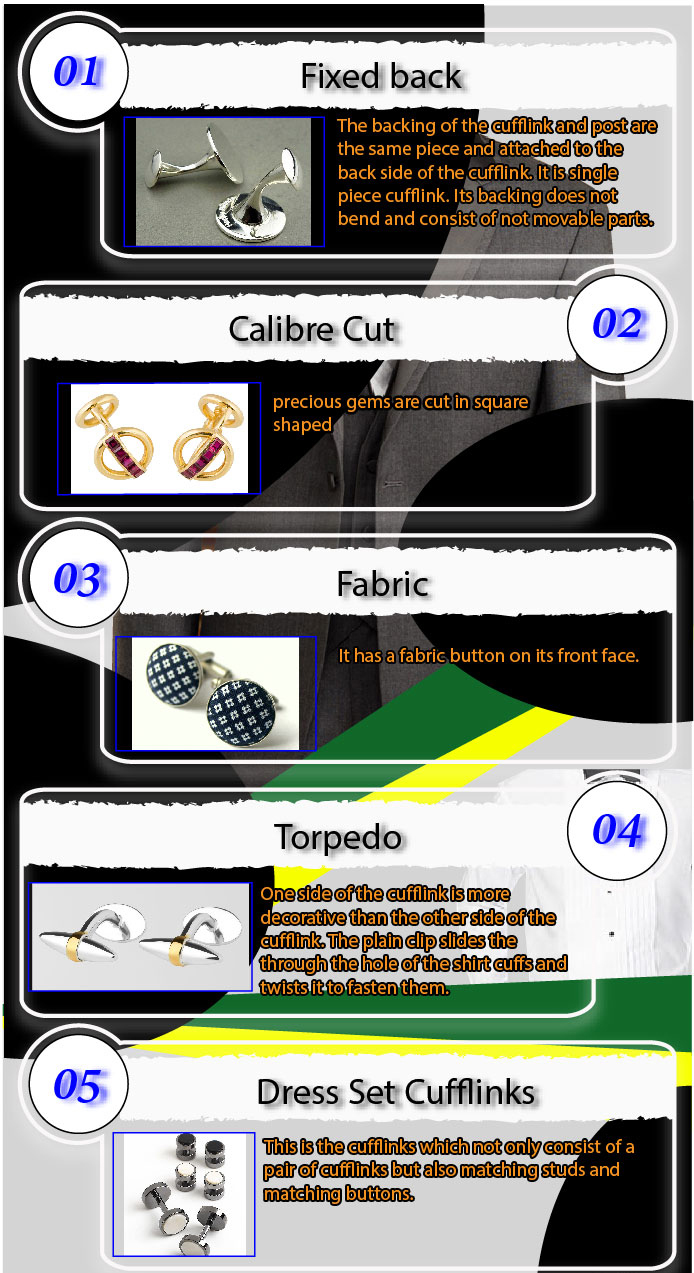 types of cufflinks