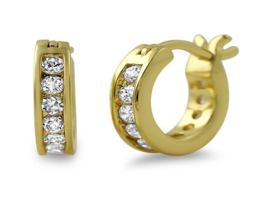 A Diamond embellished hoop plated in gold.
