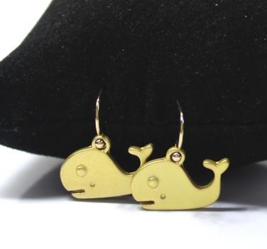Dolphin shaped golden embraced novelty earrings.