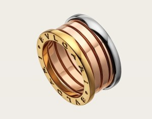 bulgari four band 18 kt rose, white and yellow gold rings for men