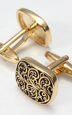 Men Gold Black Square Cufflinks