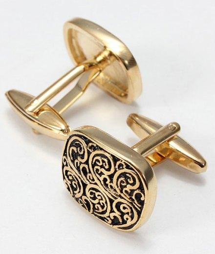 Men Gold Black Square Cufflinks