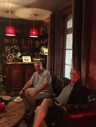The boys relaxing after dinner