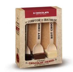 set de 3 cuburi de ciocolată caldă cu lingurițe atașate