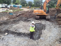 SE Carmichael builders building the foundations for house at Cuil Bay