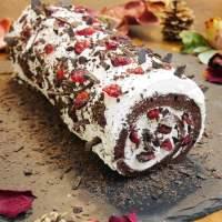 Bûche de Noël sans lactose, sans gluten et sans sucre raffiné