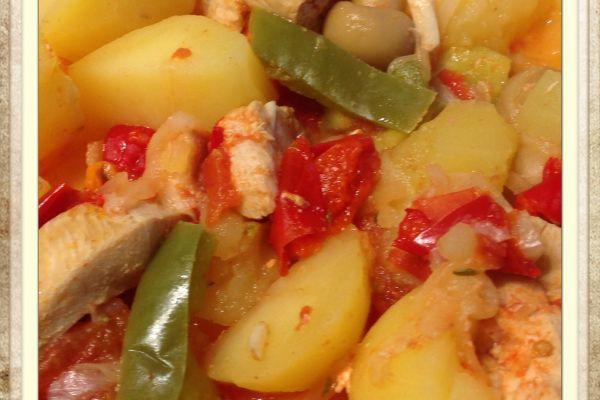 filet de poulet aux pommes de terre poivron tomates au cookeo