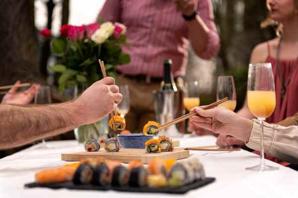 Bottomless Brunch Sushi Kit with White Peach Bellinis