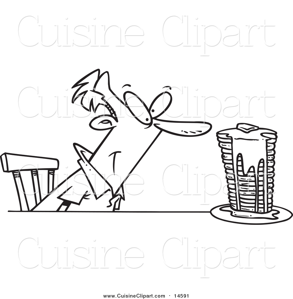 Cuisine Clipart Of A Lineart Man With Buttery Pancakes By