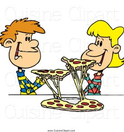 cuisine clipart of a young couple sharing pizza [ 1024 x 1044 Pixel ]