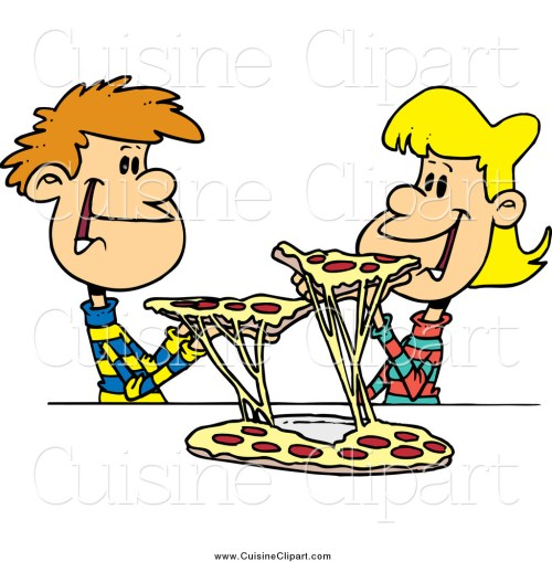 small resolution of cuisine clipart of a young couple sharing pizza