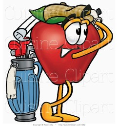 cuisine clipart of an athletic red apple character mascot swinging his golf club while golfing [ 1024 x 1044 Pixel ]