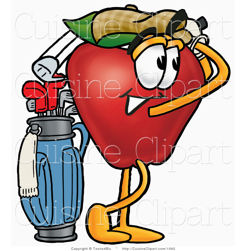 hight resolution of cuisine clipart of an athletic red apple character mascot swinging his golf club while golfing