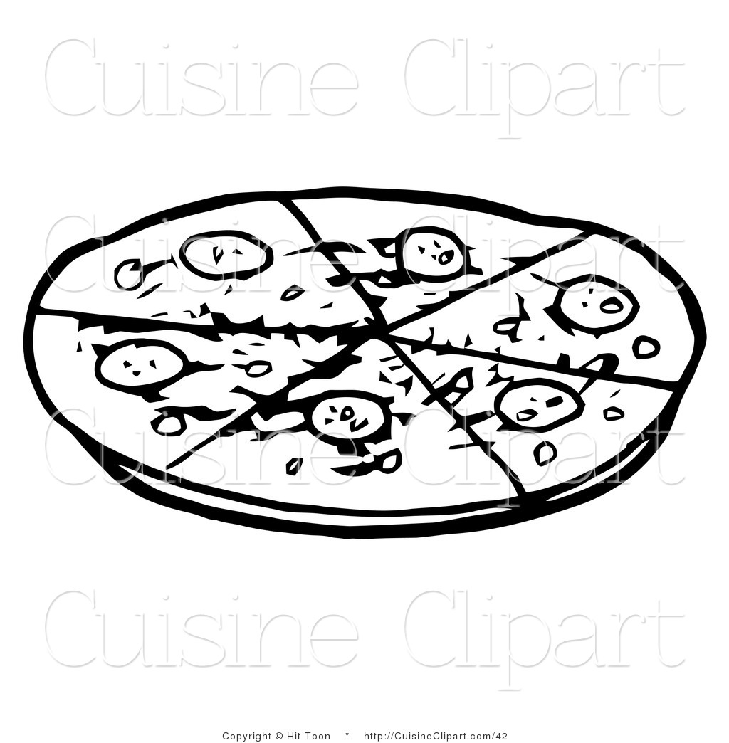 Cuisine Clipart Of An Outlined Pepperoni Pizza Pie Cut