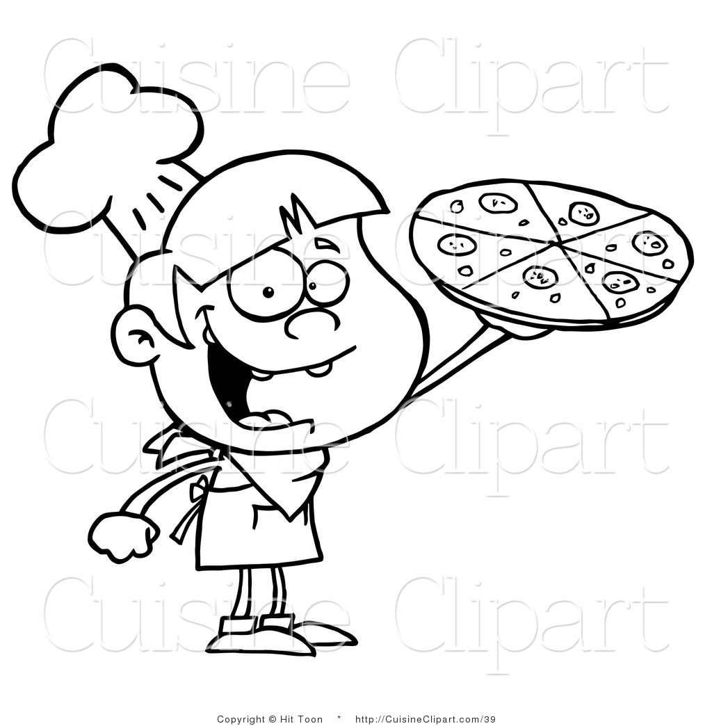 Cuisine Clipart Of An Outlined Pizza Boy Holding Up A