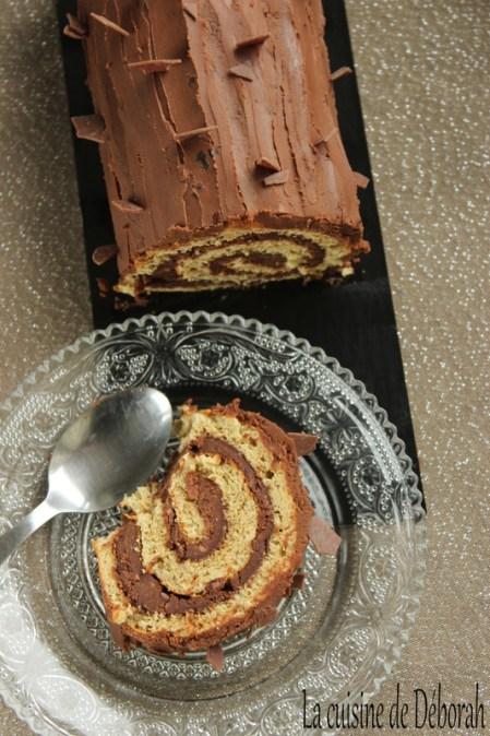 Bûche roulée marron-chocolat-grué de cacao   Cuisine de Deborah