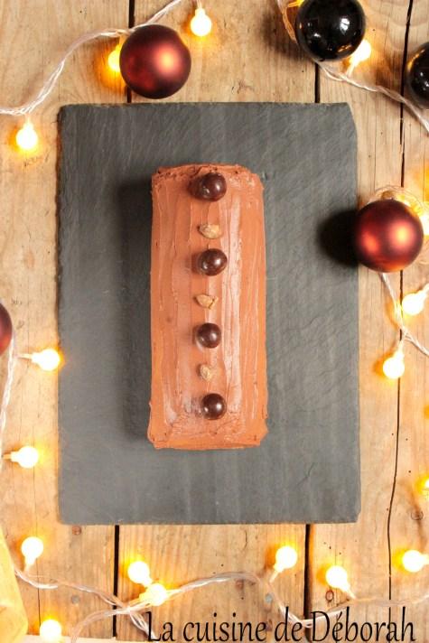 Bûche chocolat marron, sans gluten ni produits laitiers cuisine de deborah
