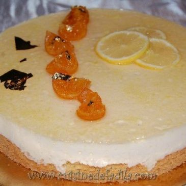 Entremets citron fraise sur sablé breton